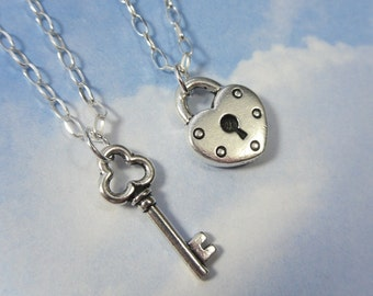 Key to my heart necklace - couples & friends - two necklaces in sterling silver - for love, friendship, anniversary or engagement