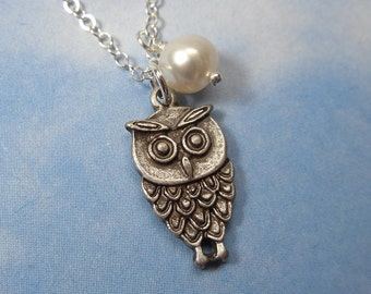 Night Owl Necklace - antiqued silver charm, pearl moon, sterling silver chain - free shipping USA - woodland bird, white freshwater pearl