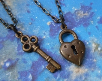 Key to My Heart Antiqued Brass Couples Necklace Set - his and hers jewelry - for anniversary, love, engagement, friendship