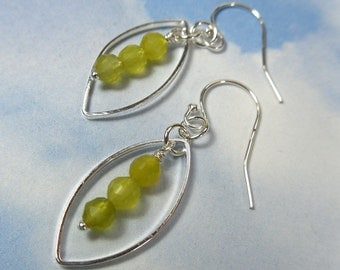 Three peas in a pod earrings- light olive green jade beads in silver plated  pods on sterling silver earwires - free shipping USA