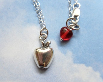Apple Necklace - sterling silver charm and chain with little red glass heart - great for teachers - free shipping USA