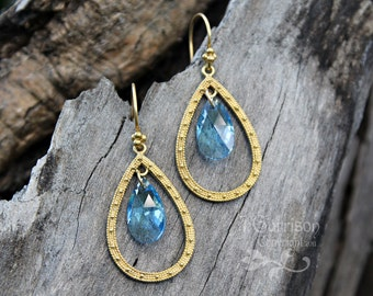Aquamarine Swarovski crystal & gold teardrop chandelier earrings - aqua blue - free shipping USA - Bollywood Gypsy