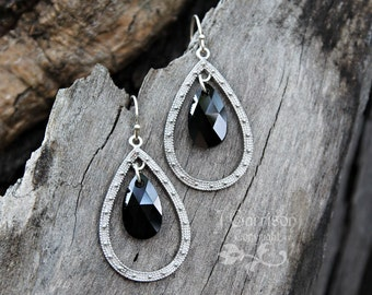 Black Swarovski crystal & silver teardrop chandelier earrings - Beautiful Jet black crystal - Free shipping USA