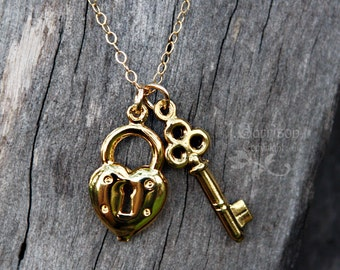 Retro Gold Key to My Heart Necklace- heart lock & key on gold chain - free shipping USA
