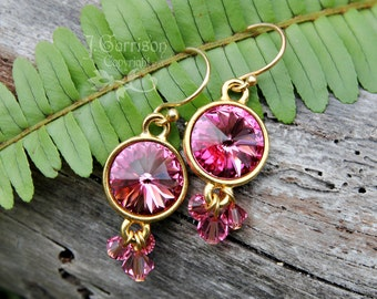 Rose Pink Crystal Rivoli & Gold Chandelier Earrings - Bling-a-licious - free shipping USA