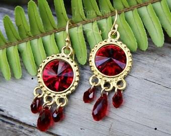 Deep Ruby Red Crystal Rivoli & Gold Earrings - Boho chic - royal colors - free shipping USA
