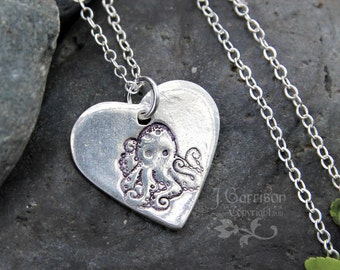 Octopus love necklace - fine silver handmade heart charm with stamped octopus on sterling silver chain - free shipping in USA