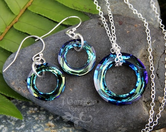 Cosmic Ring Earrings and Necklace Set - brilliant faceted blue green Swarovski crystal rings on sterling silver - free shipping USA