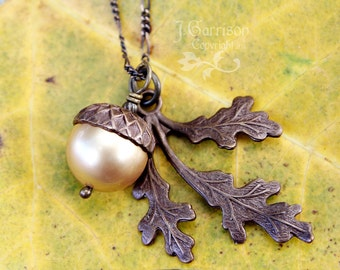 Antiqued Brass Acorn & Oak Leaf Necklace - Vintaj Brass, Swarovski Pearl - perfect for autumn and winter - free shipping USA