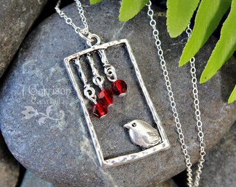 Summer Visitor Necklace - Silver bird under red crystal fruits on sterling silver chain - free shipping USA - child to women's plus sizes
