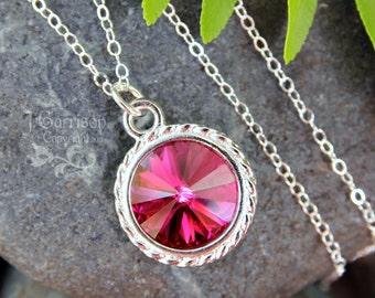 Fuchsia & Silver Necklace- - Magenta, hot pink crystal rivoli, sterling silver chain