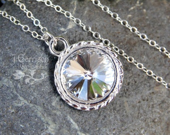 Crystal Clear & Silver Necklace- - Bright, Sparkling clear rivoli, sterling silver chain - free shipping USA