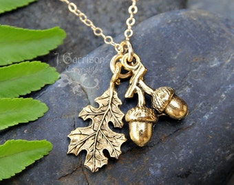 Golden acorn and oak leaf necklace - gold plated pewter charms on 14k gold filled delicate chain