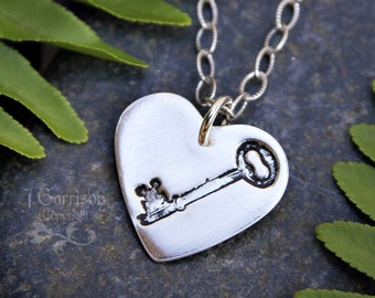 Rustic Key to My Heart Necklace - handmade fine silver heart charm with key stamp, sterling chain - love, best friends - free shipping USA