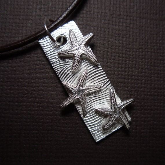 Starfish and waves pendant leather necklace - handmade fine silver ocean charm, leather cord, sterling silver clasp - free shipping USA