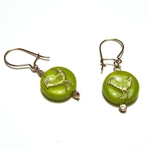 Wasabi bird earrings - Cute lime green glass disks with little gold embossed birds, on gold kidney ear wire - free shipping USA