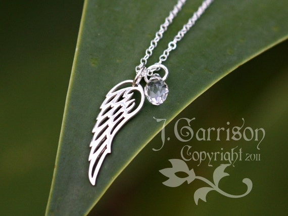 Winged Necklace - Sterling silver angel wing charm, birthstone crystal teardrop, sterling silver chain- free shipping USA