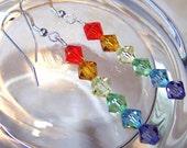 RAINBOWS Swarovski Crystal Sterling Silver Dangle Earrings