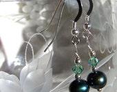 HOPE Peacock Pearl and Swarovski Crystal Sterling Silver Earrings