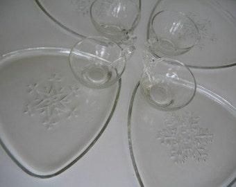 Set of Four Snowflake Snack Set