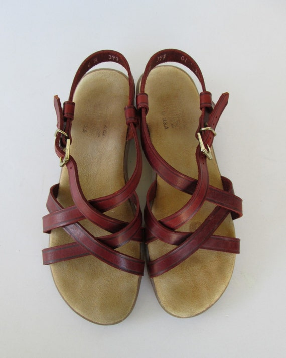 Bass Strappy Red Cinnamon Sandals 6