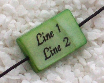 15 x 10mm - Rectangle Mother-of-pearl Shell Bead - Green - Custum Engraved - PERSONALIZED