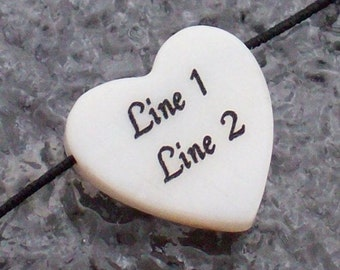 White Mother-of-pearl Heart Shell Bead - Custom Laser Engraved - 15mm - Personalized front & back - MOP - Love