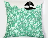 Reserved for Stephanie: Bigger Boat throw pillow - turquoise green