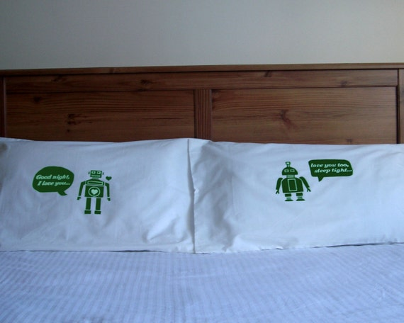 i heart robot  pillow case set - green