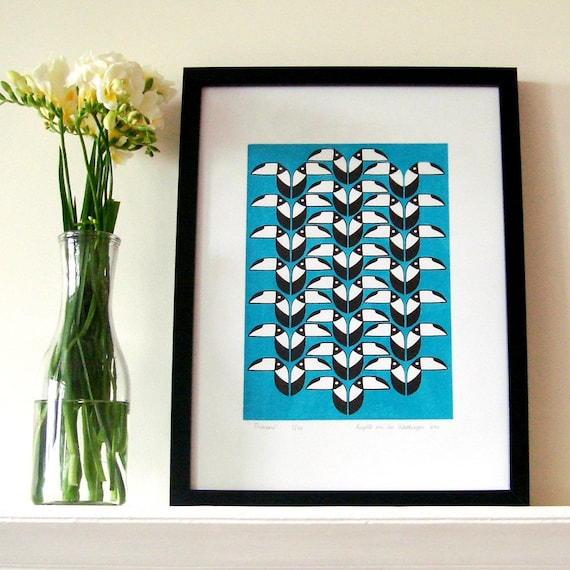 Toucans in turquoise and black screen print - limited edition of 30