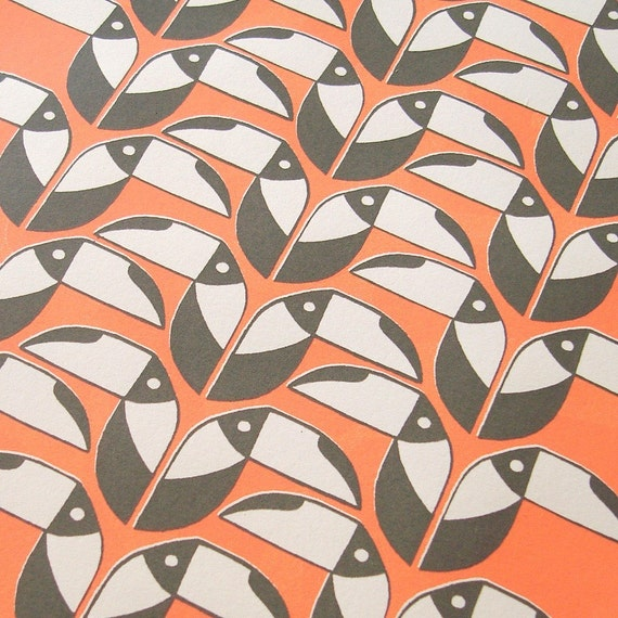 Toucans in coral and grey silkscreen print - edition of 30