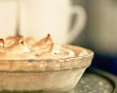 Food photo - Pie and tea - 8x10 kitchen art print - farmers market food photography lemon meringue baking
