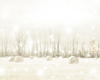 Fairy tale photography - Walking in a Winter Wonderland - 8x10 whimsical art print - romantic snow country farm