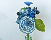 Blue Button Flower Bouquet- Ceramic, vintage, and recycled