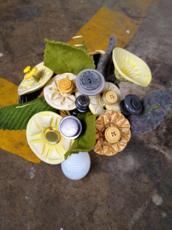 Rainy Day Button Flower Bouquet- Yellow and Grey