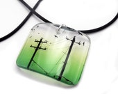 Pendant, resin, Bird on a Wire, embedded photo, graphic design, bright green, birds, telegraph poles, photo pendant, by BuyMyCrap