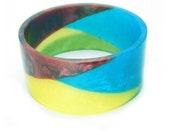 Resin Bangle. Shimmering pigment tinted bracelet. Jewel in the Nile. ready to ship.