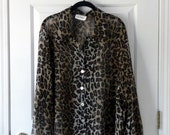 Sheer Leopard Print Long-Sleeved Blouse