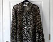 Sheer Leopard Print Long-Sleeved Blouse