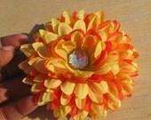 Yellow and Orange Mum Hair Flower