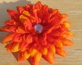 Orange Mum Hair Flower with Large Rhinestone