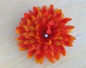 Orange Mum Hair Flower with Rhinestone