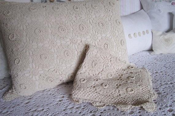 Shabby Chic Vintage Crocheted Pillow Sham Set