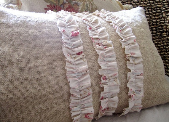 Shabby Chic Burlap Porch Pillow Slip by Therobinandsparrow on Etsy