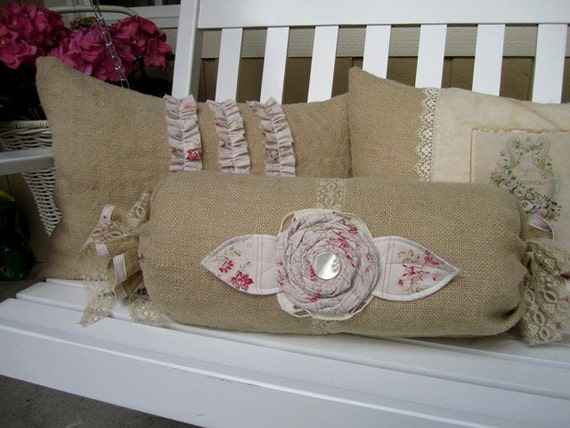 Shabby Chic Burlap Porch Pillow