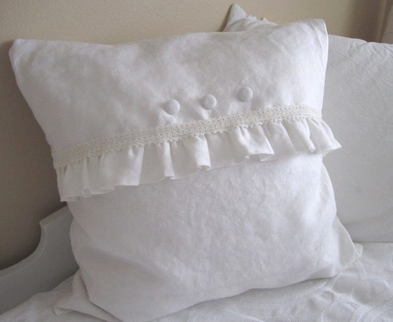 Thick Linen Shabby Rumply Pillow 20 x 20 inches