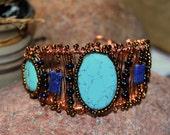 Wire Wrapped Cuff, Turquoise and Lapis, Copper Jewelry, Handcrafted Jewelry, Gemstone Jewelry, Native Style Jewelry, Boho Jewelry