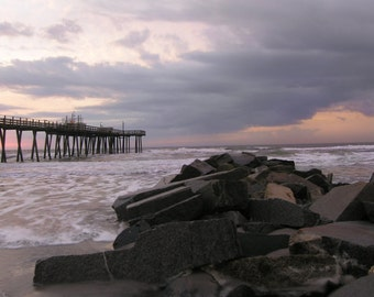 Sunrise over the Old Pier---Shore Nature Landscape Fine Art Matted Photography Coastal Cottage Beach Office Decor