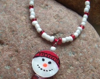 CLEARANCE-Handpainted Mother of Pearl Snowman Necklace, Teen Jewelry, Handcrafted Jewelry, Christmas Jewelry, Gift under 10, Snowman Jewelry