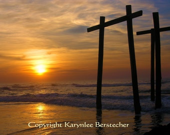 Awakening the Dawn, Christian Art, Fine Art Photography, Matted Photography, Beach Decor, Orange and Brown, Inspirational Art